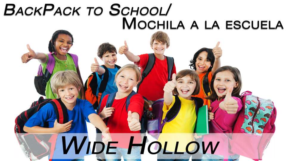 Wide Hollow Elementary Backpack to School